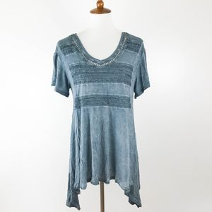 Unity World Wear Tunic Small Crochet Blue V-neck